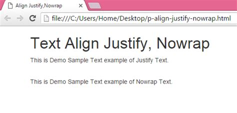 Set paragraph tag text align Justify,Nowrap using