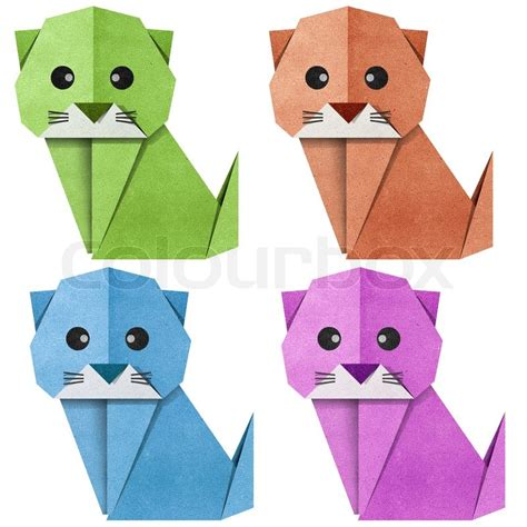 Origami cat Recycled Papercraft | Stock Photo | Colourbox