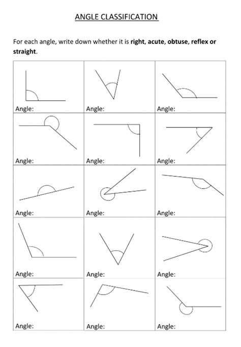 Identifying angles - Interactive worksheet