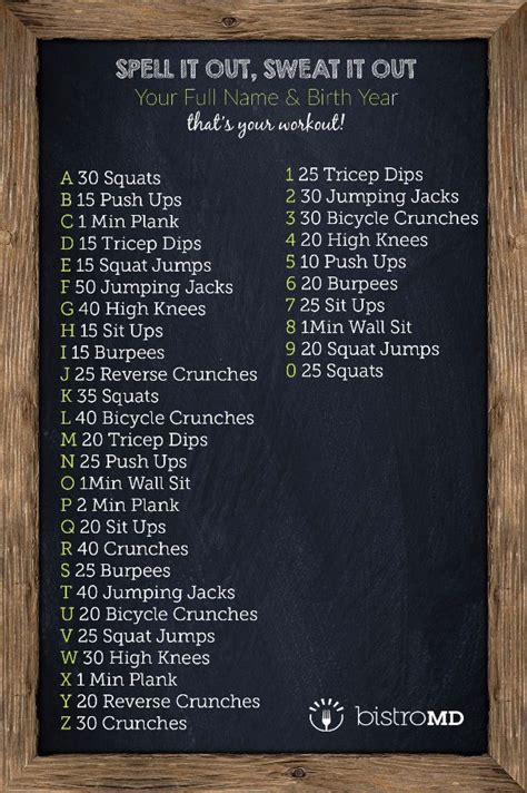CrossFit style workout, no equipment needed! Spell out